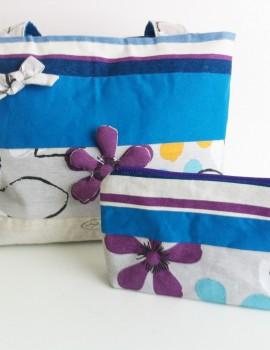 Bolso y estuche flores azul morado5