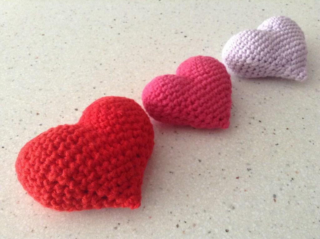 Corazones 3D de ganchillo o crochet
